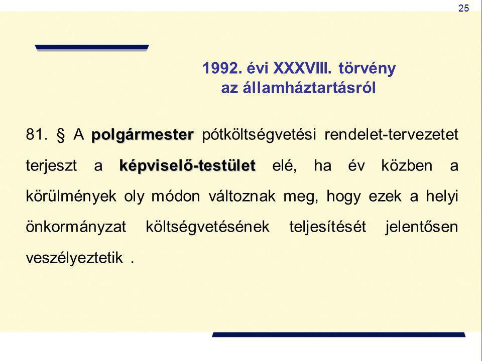 25 1992. évi XXXVIII. törvény az államháztartásról polgármester képviselő-testület 81. § A polgármester pótköltségvetési rendelet-tervezetet terjeszt