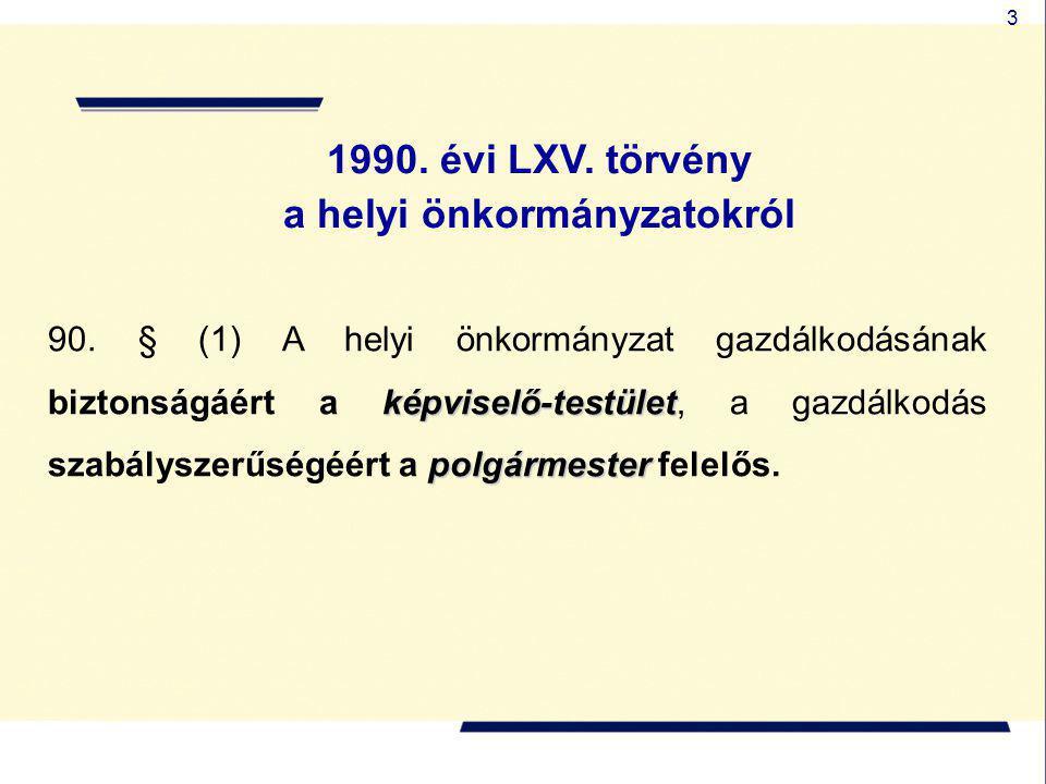 24 1992.évi XXXVIII. törvény az államháztartásról jegyző polgármester képviselő-testület 71.