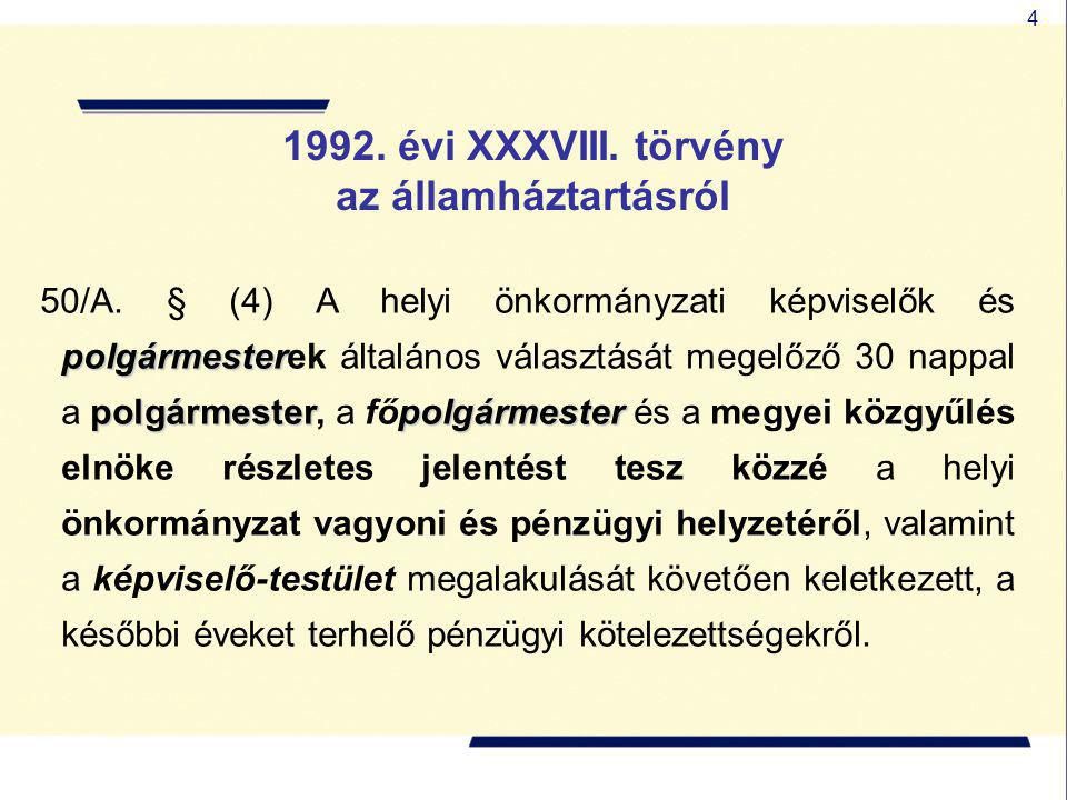4 1992. évi XXXVIII. törvény az államháztartásról polgármester polgármesterpolgármester 50/A. § (4) A helyi önkormányzati képviselők és polgármesterek