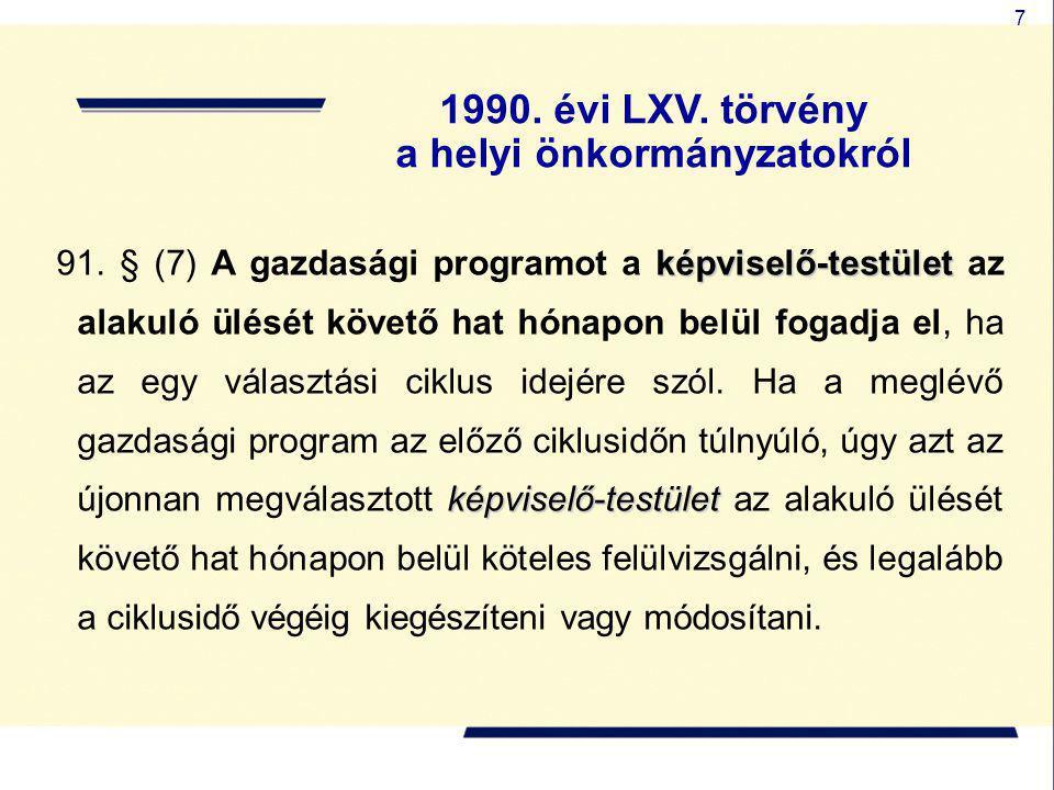 7 képviselő-testület képviselő-testület 91. § (7) A gazdasági programot a képviselő-testület az alakuló ülését követő hat hónapon belül fogadja el, ha