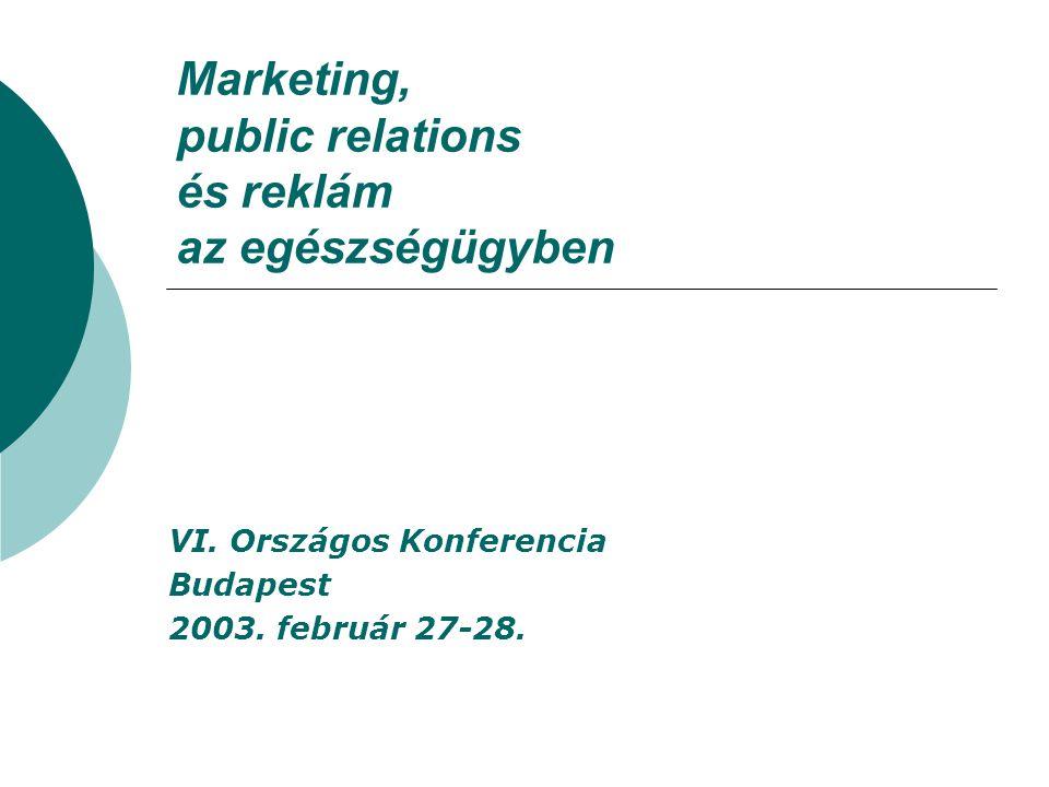 Marketing, public relations és reklám az egészségügyben VI. Országos Konferencia Budapest 2003. február 27-28.