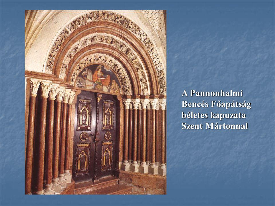 A Pannonhalmi Bencés Főapátság béletes kapuzata Szent Mártonnal