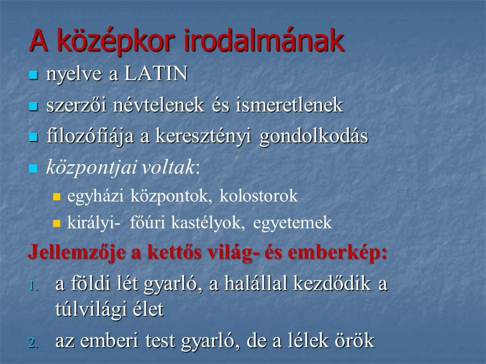 A középkor irodalmának nyelve a LATIN nyelve a LATIN szerzői névtelenek és ismeretlenek szerzői névtelenek és ismeretlenek filozófiája a keresztényi g