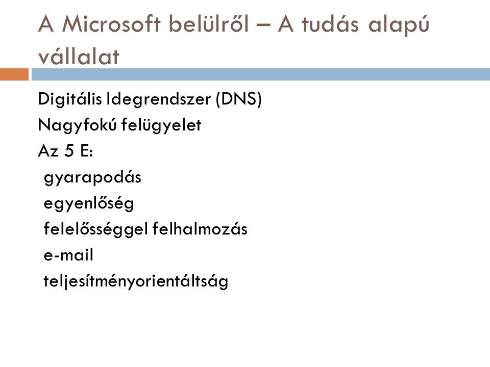 A Microsoft belülről – A tudás alapú vállalat Digitális Idegrendszer (DNS) Nagyfokú felügyelet Az 5 E: gyarapodás egyenlőség felelősséggel felhalmozás