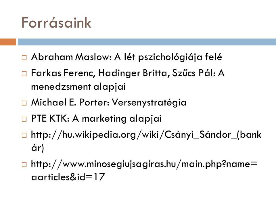 Forrásaink  Abraham Maslow: A lét pszichológiája felé  Farkas Ferenc, Hadinger Britta, Szűcs Pál: A menedzsment alapjai  Michael E. Porter: Verseny
