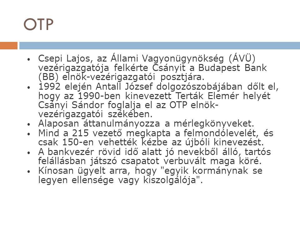 OTP Csepi Lajos, az Állami Vagyonügynökség (ÁVÜ) vezérigazgatója felkérte Csányit a Budapest Bank (BB) elnök-vezérigazgatói posztjára. 1992 elején Ant