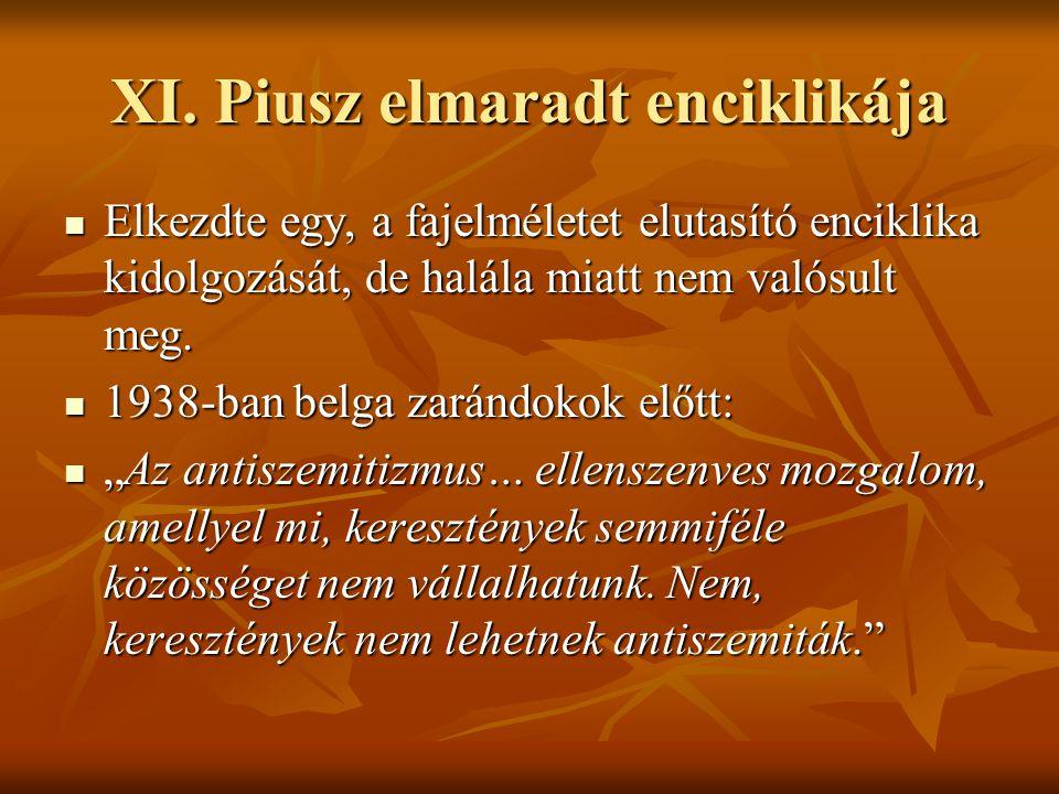 XI. Piusz elmaradt enciklikája Elkezdte egy, a fajelméletet elutasító enciklika kidolgozását, de halála miatt nem valósult meg. Elkezdte egy, a fajelm
