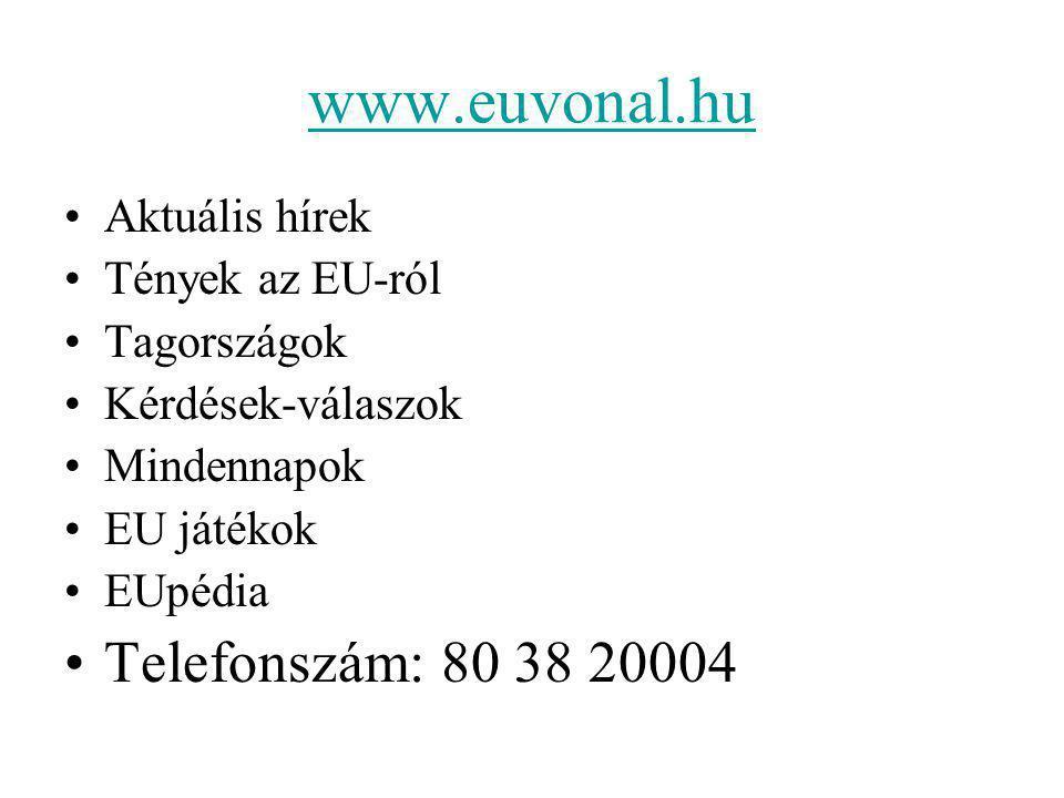 www.euvonal.hu Aktuális hírek Tények az EU-ról Tagországok Kérdések-válaszok Mindennapok EU játékok EUpédia Telefonszám: 80 38 20004