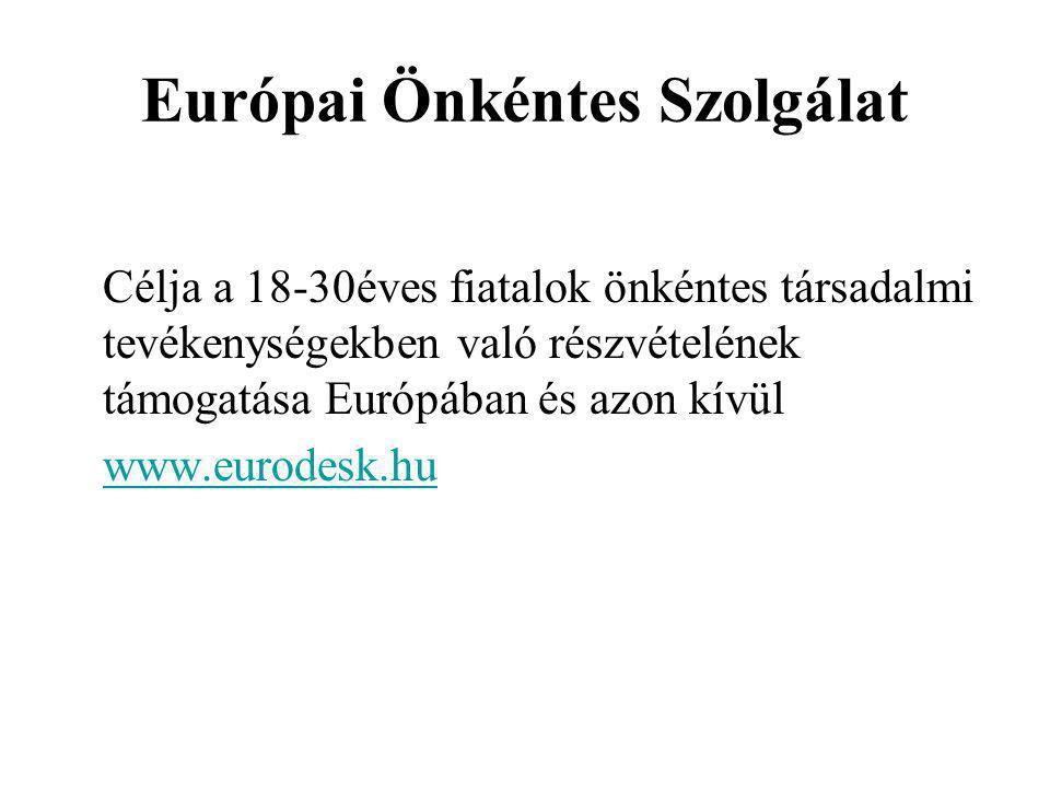 Európai Önkéntes Szolgálat Célja a 18-30éves fiatalok önkéntes társadalmi tevékenységekben való részvételének támogatása Európában és azon kívül www.eurodesk.hu
