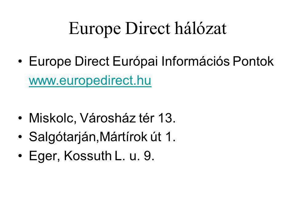 Europe Direct hálózat Europe Direct Európai Információs Pontok www.europedirect.hu Miskolc, Városház tér 13.