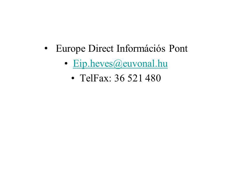 Europe Direct Információs Pont Eip.heves@euvonal.hu TelFax: 36 521 480