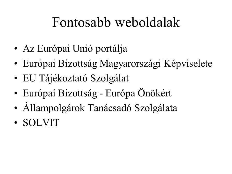 Fontosabb weboldalak Az Európai Unió portálja Európai Bizottság Magyarországi Képviselete EU Tájékoztató Szolgálat Európai Bizottság - Európa Önökért Állampolgárok Tanácsadó Szolgálata SOLVIT
