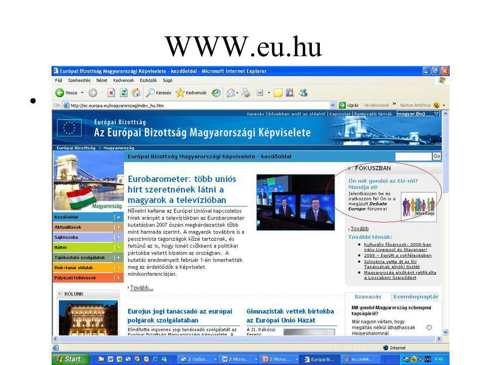 Hazai pályázatok www.kulugyminiszterium.hu EU Tájékoztató Szolgálat Tavaly:Pályázat civil szervezetek európai uniós tevékenységének civil újságírás formájában történő megjelenésének támogatására Pályázat civil szervezetek európai uniós tevékenységének civil újságírás formájában történő megjelenésének támogatására