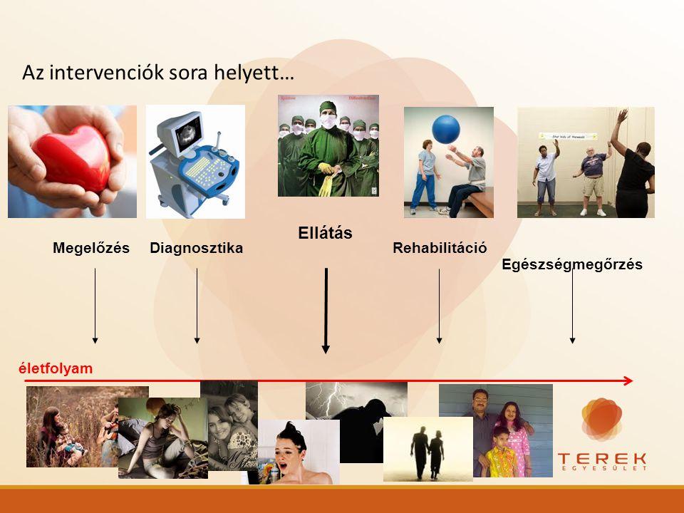Ellátás DiagnosztikaRehabilitációMegelőzés Egészségmegőrzés Az intervenciók sora helyett… életfolyam