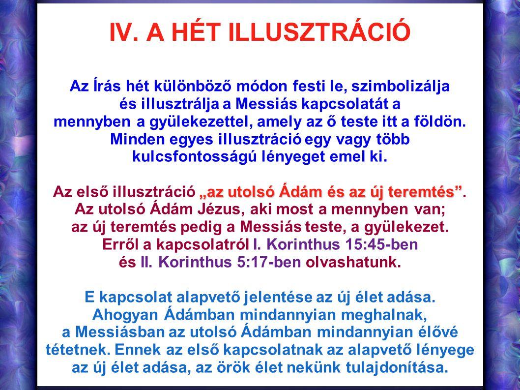 IV. A HÉT ILLUSZTRÁCIÓ Az Írás hét különböző módon festi le, szimbolizálja és illusztrálja a Messiás kapcsolatát a mennyben a gyülekezettel, amely az