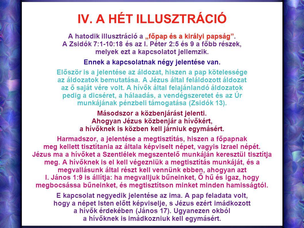 """IV. A HÉT ILLUSZTRÁCIÓ """"főpap és a királyi papság"""" A hatodik illusztráció a """"főpap és a királyi papság"""". A Zsidók 7:1-10:18 és az I. Péter 2:5 és 9 a"""