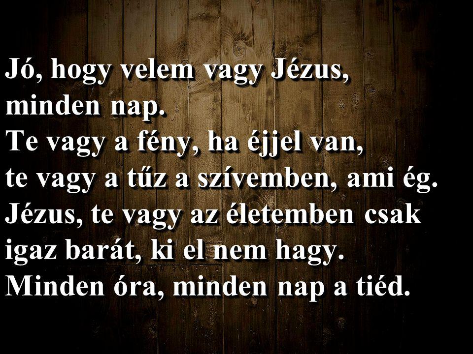 Jó, hogy velem vagy Jézus, minden nap. Te vagy a fény, ha éjjel van, te vagy a tűz a szívemben, ami ég. Jézus, te vagy az életemben csak igaz barát, k