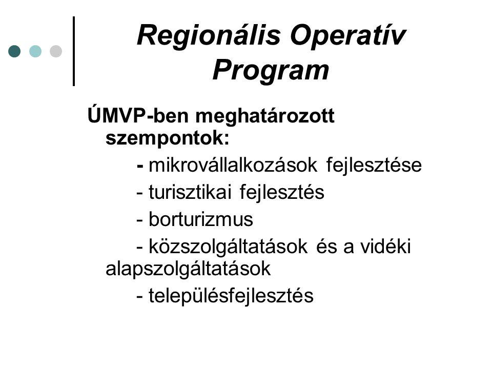 Regionális Operatív Program ÚMVP-ben meghatározott szempontok: - mikrovállalkozások fejlesztése - turisztikai fejlesztés - borturizmus - közszolgáltatások és a vidéki alapszolgáltatások - településfejlesztés