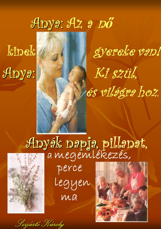 Virág a kézben, emlékkép a szívünkben s köszönettel mondjuk: adassék hála tinektek Édesanyák, Anyukák Szijártó Károly