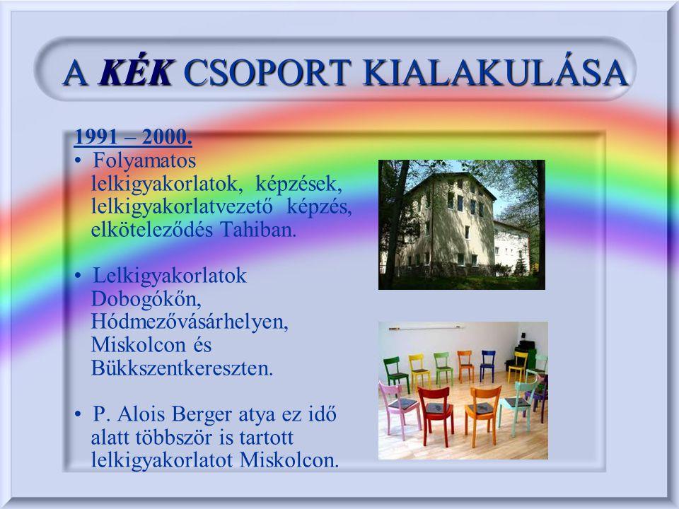 AKÉKCSOPORT KIALAKULÁSA A KÉK CSOPORT KIALAKULÁSA 1996.