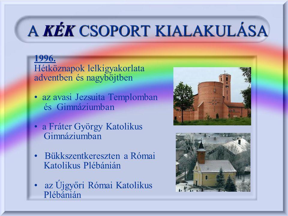 AKÉKCSOPORT KIALAKULÁSA A KÉK CSOPORT KIALAKULÁSA 1996. Hétköznapok lelkigyakorlata adventben és nagyböjtben az avasi Jezsuita Templomban és Gimnázium