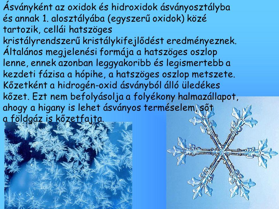 Ásványként az oxidok és hidroxidok ásványosztályba és annak 1. alosztályába (egyszerű oxidok) közé tartozik, cellái hatszöges kristályrendszerű kristá