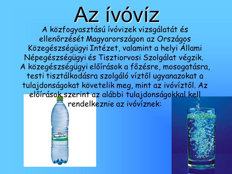 Az ívóvíz A közfogyasztású ívóvizek vizsgálatát és ellenőrzését Magyarországon az Országos Közegészségügyi Intézet, valamint a helyi Állami Népegészsé