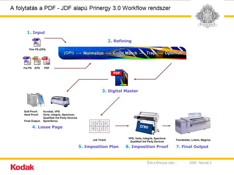 2006. február 3.Élet a Brisque után... A folytatás a PDF - JDF alapú Prinergy 3.0 Workflow rendszer