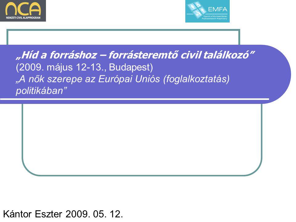 Foglalkoztatás 2007-ben az EU 27 tagállamában a férfiak foglalkoztatási rátája 72.5% a nőké 58.3% volt.