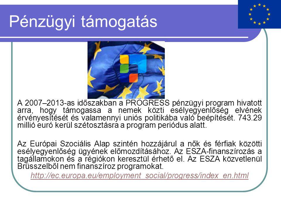 Pénzügyi támogatás A 2007–2013-as időszakban a PROGRESS pénzügyi program hivatott arra, hogy támogassa a nemek közti esélyegyenlőség elvének érvényesítését és valamennyi uniós politikába való beépítését.