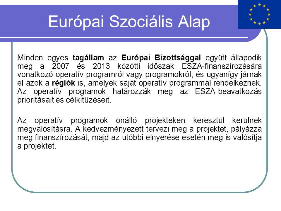 Európai Szociális Alap Minden egyes tagállam az Európai Bizottsággal együtt állapodik meg a 2007 és 2013 közötti időszak ESZA-finanszírozására vonatkozó operatív programról vagy programokról, és ugyanígy járnak el azok a régiók is, amelyek saját operatív programmal rendelkeznek.