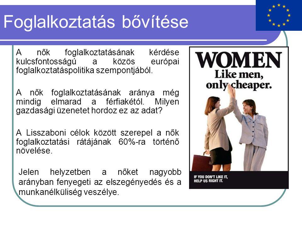 Foglalkoztatás bővítése A nők foglalkoztatásának kérdése kulcsfontosságú a közös európai foglalkoztatáspolitika szempontjából.