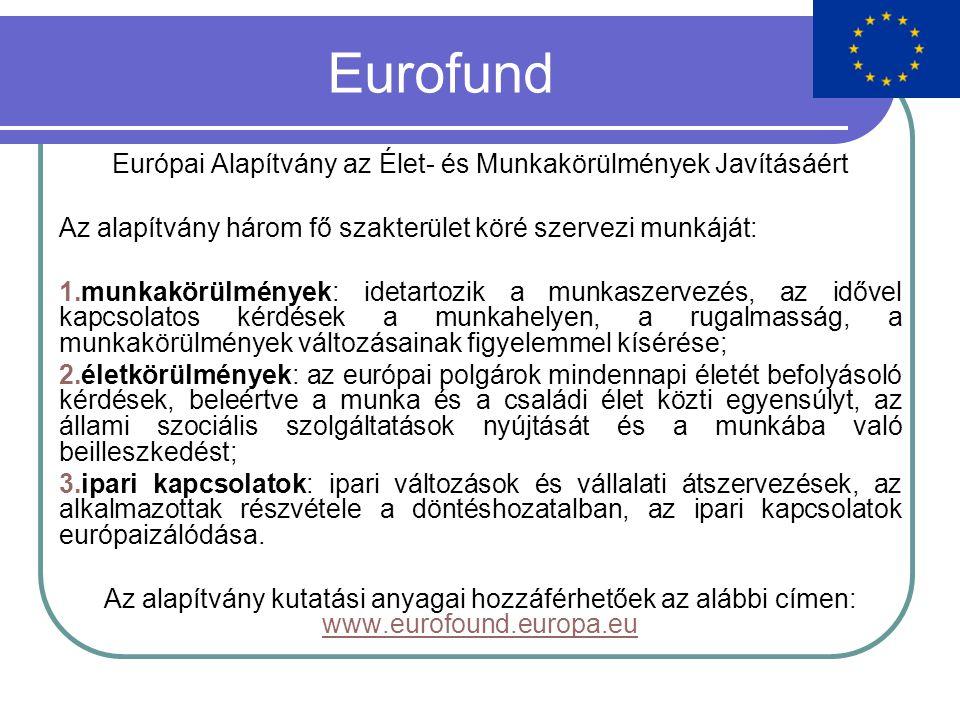 Eurofund Európai Alapítvány az Élet- és Munkakörülmények Javításáért Az alapítvány három fő szakterület köré szervezi munkáját: 1.munkakörülmények: idetartozik a munkaszervezés, az idővel kapcsolatos kérdések a munkahelyen, a rugalmasság, a munkakörülmények változásainak figyelemmel kísérése; 2.életkörülmények: az európai polgárok mindennapi életét befolyásoló kérdések, beleértve a munka és a családi élet közti egyensúlyt, az állami szociális szolgáltatások nyújtását és a munkába való beilleszkedést; 3.ipari kapcsolatok: ipari változások és vállalati átszervezések, az alkalmazottak részvétele a döntéshozatalban, az ipari kapcsolatok európaizálódása.