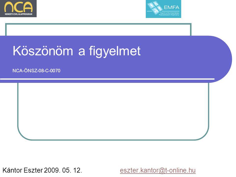 Köszönöm a figyelmet NCA-ÖNSZ-08-C-0070 Kántor Eszter 2009.