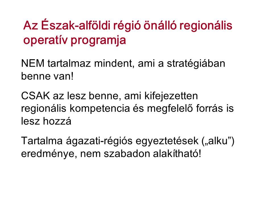 Az Észak-alföldi régió önálló regionális operatív programja NEM tartalmaz mindent, ami a stratégiában benne van.