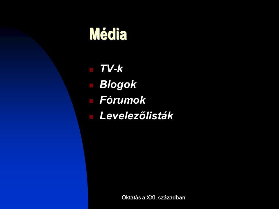 Oktatás a XXI. században Média TV-k Blogok Fórumok Levelezőlisták