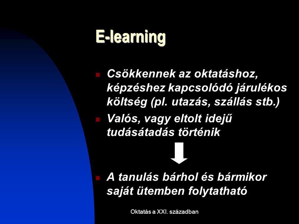 Oktatás a XXI. században E-learning Csökkennek az oktatáshoz, képzéshez kapcsolódó járulékos költség (pl. utazás, szállás stb.) Valós, vagy eltolt ide