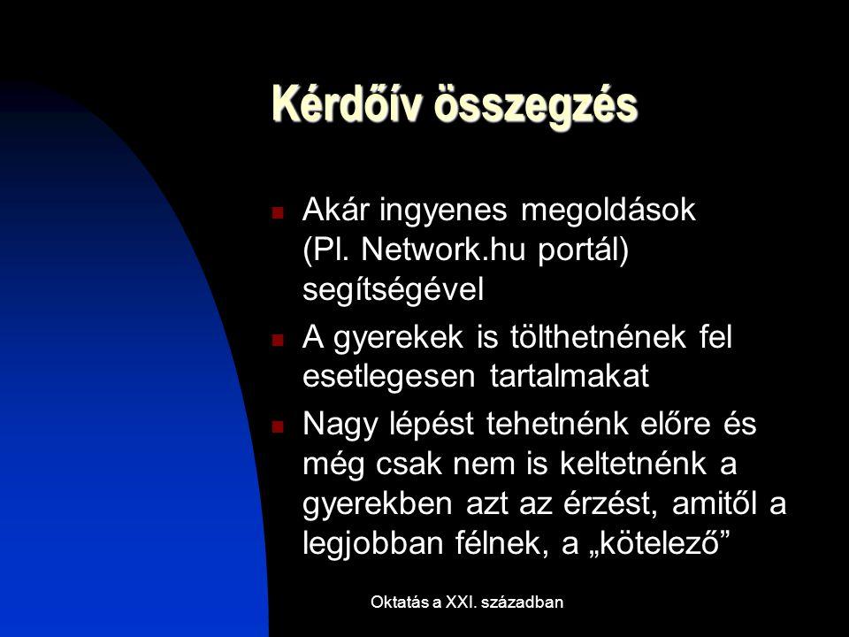 Oktatás a XXI. században Kérdőív összegzés Akár ingyenes megoldások (Pl.