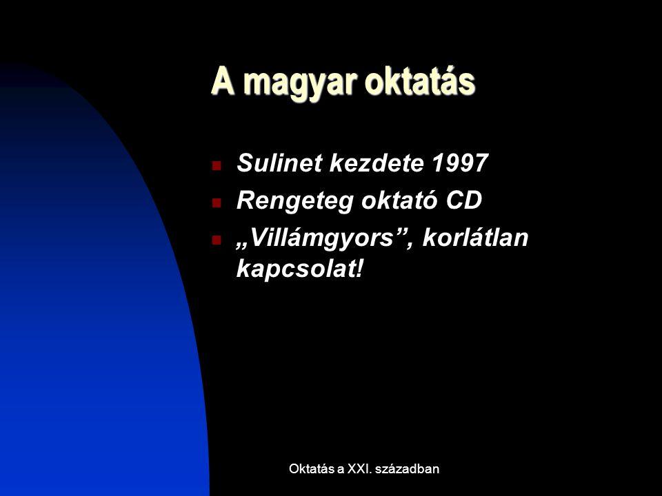 """Oktatás a XXI. században A magyar oktatás Sulinet kezdete 1997 Rengeteg oktató CD """"Villámgyors"""", korlátlan kapcsolat!"""