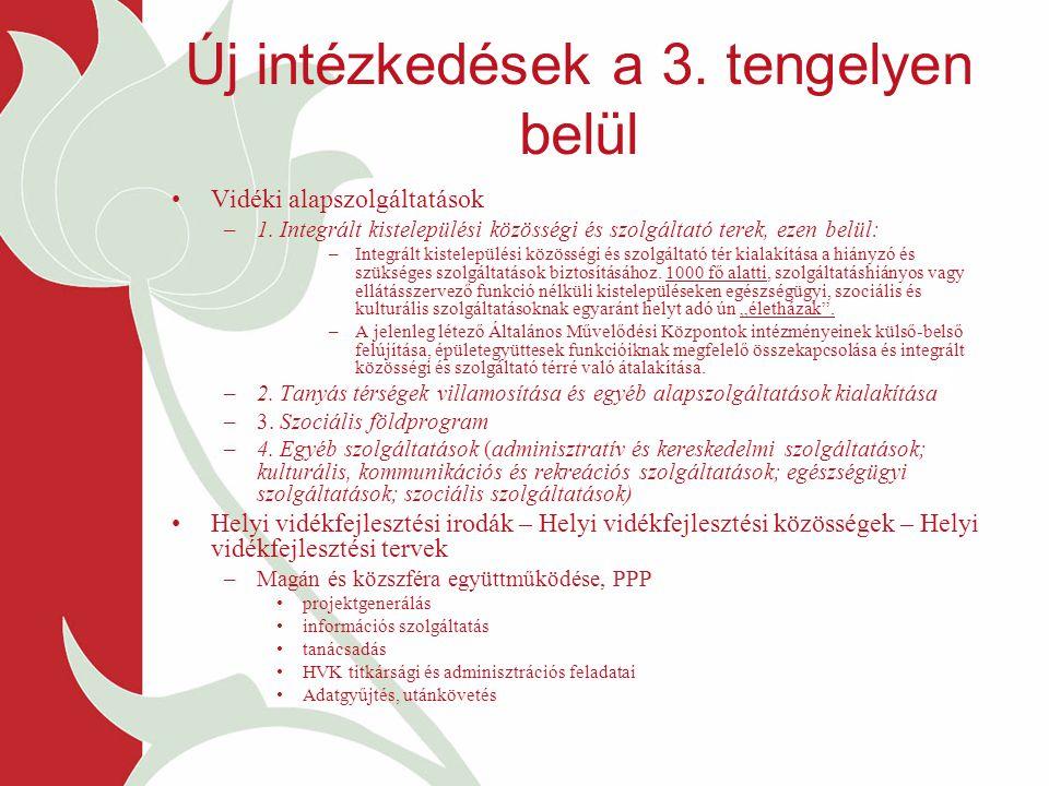 Új intézkedések a 3. tengelyen belül Vidéki alapszolgáltatások –1. Integrált kistelepülési közösségi és szolgáltató terek, ezen belül: –Integrált kist