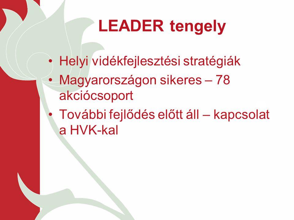 LEADER tengely Helyi vidékfejlesztési stratégiák Magyarországon sikeres – 78 akciócsoport További fejlődés előtt áll – kapcsolat a HVK-kal