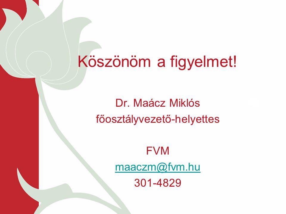 Köszönöm a figyelmet! Dr. Maácz Miklós főosztályvezető-helyettes FVM maaczm@fvm.hu 301-4829