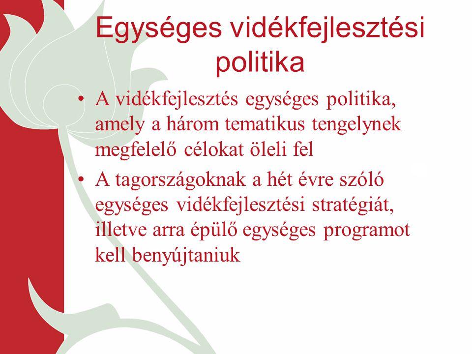 Egységes vidékfejlesztési politika A vidékfejlesztés egységes politika, amely a három tematikus tengelynek megfelelő célokat öleli fel A tagországoknak a hét évre szóló egységes vidékfejlesztési stratégiát, illetve arra épülő egységes programot kell benyújtaniuk