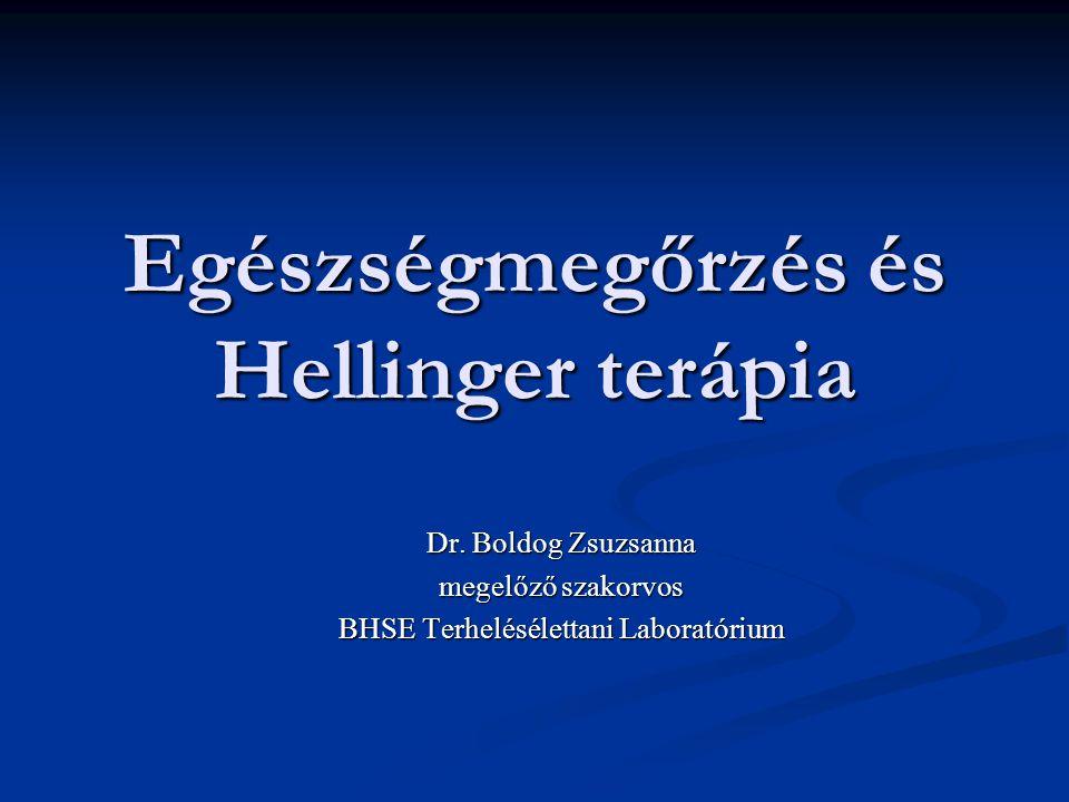 Egészségmegőrzés és Hellinger terápia Dr. Boldog Zsuzsanna megelőző szakorvos BHSE Terhelésélettani Laboratórium