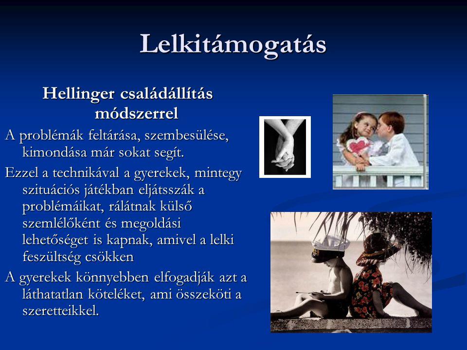Lelkitámogatás Hellinger családállítás módszerrel A problémák feltárása, szembesülése, kimondása már sokat segít. Ezzel a technikával a gyerekek, mint