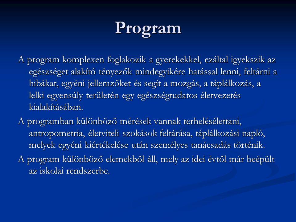 Program A program komplexen foglakozik a gyerekekkel, ezáltal igyekszik az egészséget alakító tényezők mindegyikére hatással lenni, feltárni a hibákat, egyéni jellemzőket és segít a mozgás, a táplálkozás, a lelki egyensúly területén egy egészségtudatos életvezetés kialakításában.