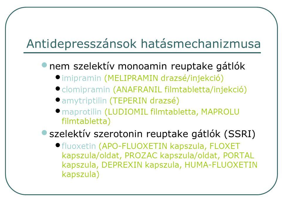 szelektív szerotonin reuptake gátlók (SSRI) citalopram (SEROPRAM filmtabletta/cseppek) paroxetin (SEROXAT filmtabletta) sertralin (ZOLOFT filmtabletta/oldat) fluvoxamin (FEVARIN filmtabletta) MAO-A gátlók moclobemid (AURORIX filmtabletta) preszinaptikus autoreceptorok gátlása mianserin (TOLVON filmtabletta) Antidepresszánsok hatásmechanizmusa