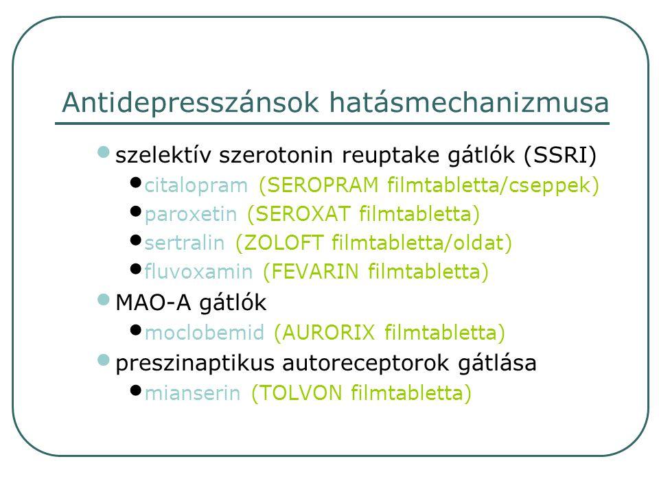 egyéb tianeptin (COAXIL drazsé) venlafaxin (EFECTIN tabletta) alprazolam (FRONTIN tabletta, XANAX tabletta, XANAX SR retard tabletta) adjuváns szer buspiron (ANXIRON tabletta, SPITOMIN tabletta)