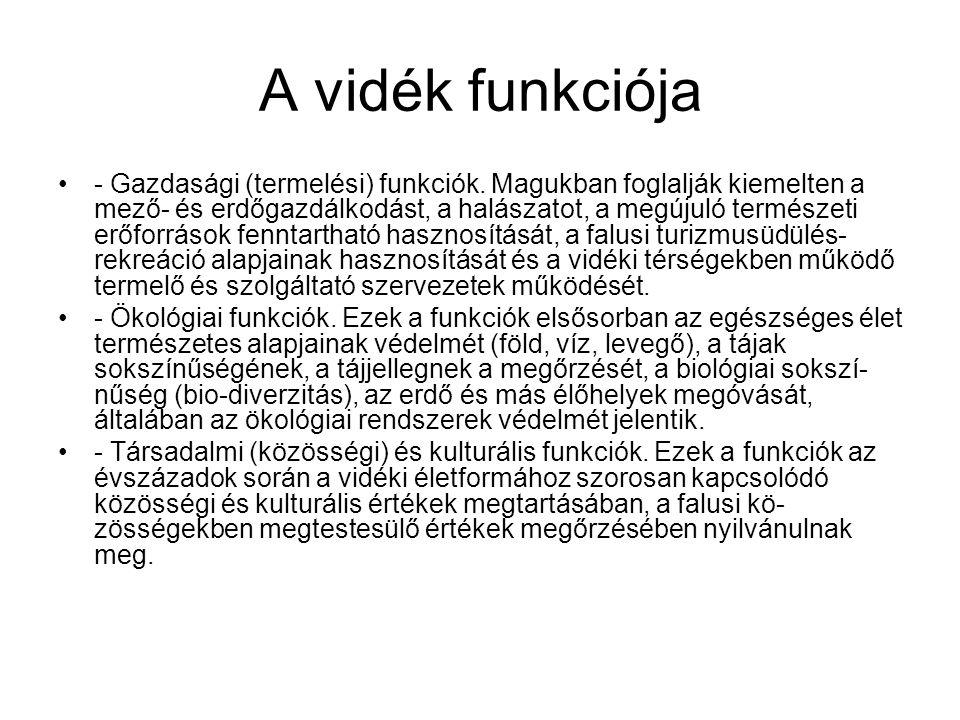 A vidék funkciója - Gazdasági (termelési) funkciók.