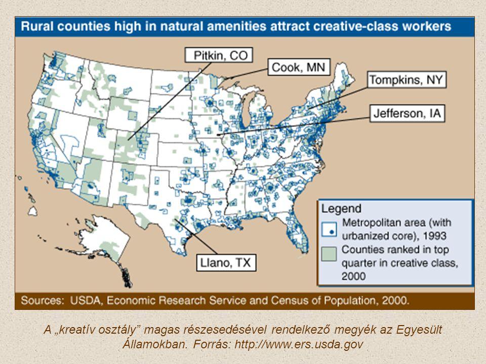 """A """"kreatív osztály"""" magas részesedésével rendelkező megyék az Egyesült Államokban. Forrás: http://www.ers.usda.gov"""